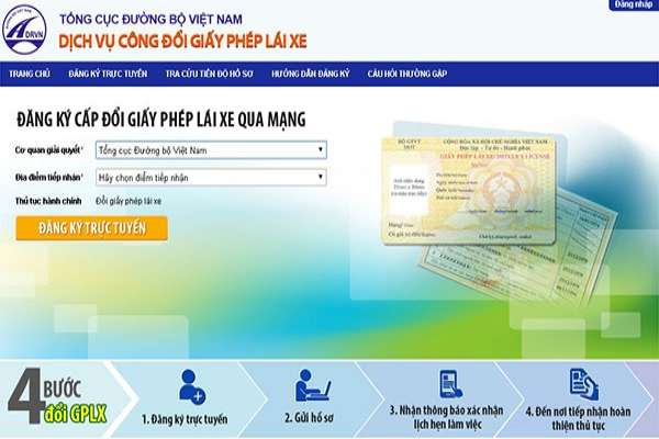 Cách đăng ký đổi giấy phép - bằng lái xe trực tuyến online qua mạng