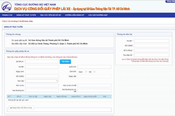 Đăng ký đổi giấy phép lái xe trực tuyến online qua mạng ở tại TPHCM