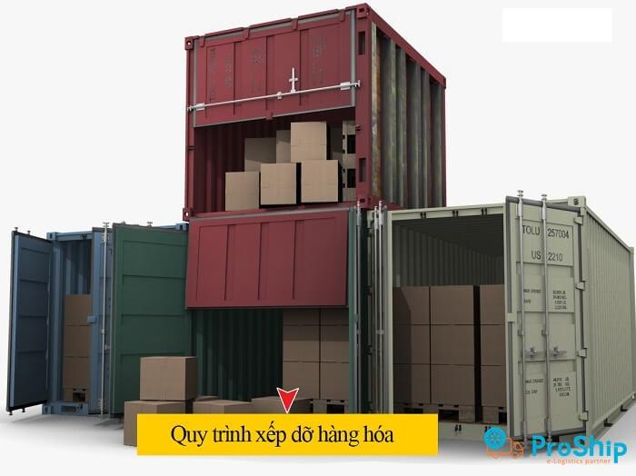 Quy trình xếp dỡ hàng hóa container được thực hiện ra sao?